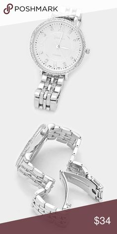 |new| Oh Sweet Verite' • Color : Silver  • Dial size : 36 mm • Band size : 14 mm • Crystal trimmed big face metal watch  .Ask About Custom Bundles.  .Poshmark Rules Only. No Trades.  .Additional Pics Available as Time Allows. Geneva Platinum Accessories Watches
