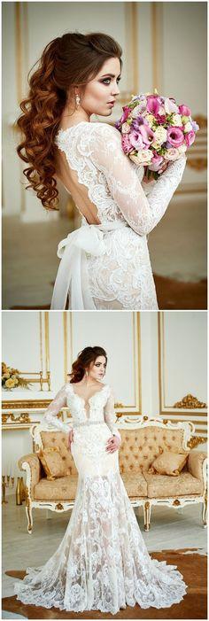 Wedding Dress Renaissance , Lace Wedding Dress, Bohemian Wedding Dress, Long Sleeve Dress, Open Back Gown, Vintage Wedding Dress, 2 in 1 #weddings #weddingideas #dresses #laceweddingdresses