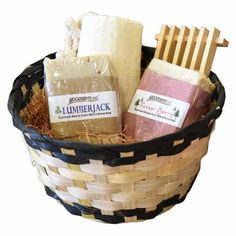 Handmade His and Hers Spa Gift Basket Bath Set - Goat's Milk Soap Bars - Lumberjack and Forest Berry