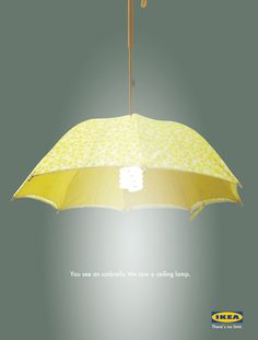 umbrella turned into a light shade an other umbrella recyclings :)