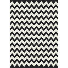 """Milliken Black & White Vibe Techno Black Rug $199 for 5'4"""" x 7'8"""", $399 for 7'8x10'9"""