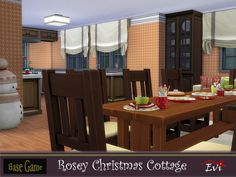 This cottage is cozy with all the warmth and the happiness a family needs to celebrate Christmas. Three bedrooms on the second floor. First floor, kitchen with dining room,living room,bathroom and a porch. Found in TSR Category 'Sims 4 Residential Lots' Last Christmas, Toddler Christmas, Christmas Bedding, Star Wall, Second Floor, Dining Room, Cottage, Flooring, Cottages
