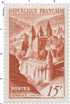 France stamp - Abbaye de Conques (1947)                              …