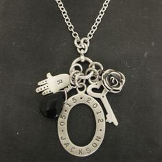 Hamsa, Rose & Key Name & Date Charm Necklace. http://www.luxe-design.com