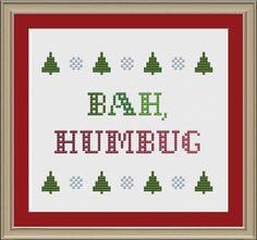 Bah, humbug: funny Christmas cross-stitch pattern by nerdylittlestitcher on Etsy https://www.etsy.com/listing/111909718/bah-humbug-funny-christmas-cross-stitch