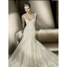 Lace Sweetheart Neckline Trumpet Wedding Dress with Cap Sleeves