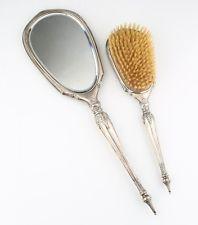 Vintage George Webster Co Sterling Silver Vanity Set (535g) Hand Mirror & Brush