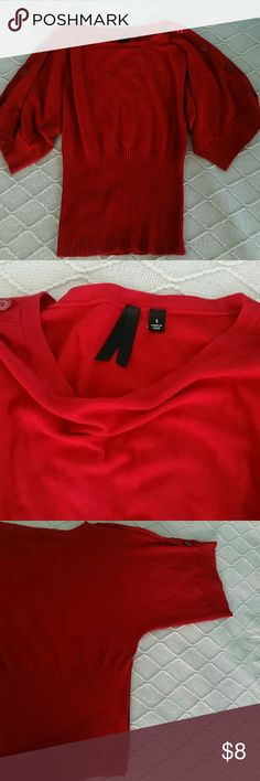 Red Bat wing Shirt Rich Red Shirt with decorative buttons down the sleeves.elastic waist. Tops Blouses