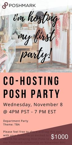 •HOSTING MY FIRST POSH PARTY• Hi fellow Poshmarkers!  I'm so excited to share with you that I will be co-hosting my first Poshmark party on Wednesday, November 8th! I can't wait to co-host this party and share everyone's beautiful listings with the Poshmark community. Please tag your PFFs below for a chance to get one your listings to be chosen as a host pick💛💫 Other