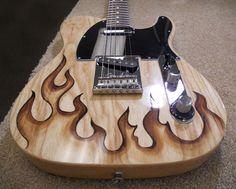 burnmethod, guitar, guitars, pyrography, custom, wood burning, engraved, refinish, tele, telecaster, flame, fire, hotrod