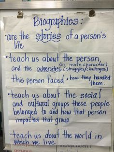 charting elements of biographies - Allison Weigle, 3rd grade, LOP