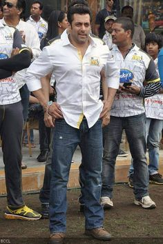 Bollywood hunk Salman Khan during the Celebrity Cricket League 2014, held at the DY Patil Stadium, in Mumbai, on January 25, 2014.
