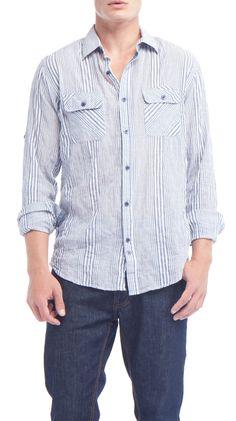 Blue/White Shirt.