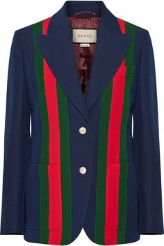 Navy, red and green wool and silk-blend crepe Button fastenings through front 51% wool, 49% silk; lining: 100% cupro Dry clean Mother-of-pearl: Australia Made in Italy