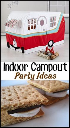 Indoor Campout. Instead of risking frostbite and pneumonia, improv and create your very own campout inside your family room. Activities For Kids, Crafts For Kids, Slumber Parties, Camping Parties, Mouse Parties, Sleepover, Boy Birthday, Winter Birthday, Birthday Wishes