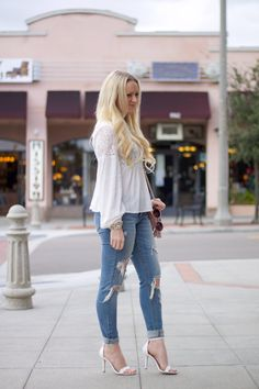Love this outfit combo! White lace and distressed jeans <3