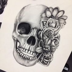 Want want want skull and flower thigh tattoo