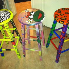 Painted these stools for other teachers at my school :) they add interest to a boring piece of furniture!