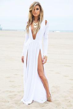 Raya High-Slit Deep-V Maxi Dress - White