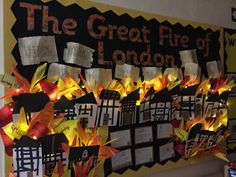 Great Fire of London.with fairy lights! Fire London, Great Fire Of London, The Great Fire, Display Boards For School, School Displays, Classroom Displays, Year 2 Classroom, Classroom Board, Classroom Ideas