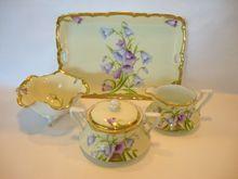 "Gorgeous Bavarian Porcelain Creamer, Sugar, Bon Bon Bowl and Tray Set ~ Hand Painted with ""Bavaria Blue"" Lavender Bellflowers ~ Tirschenreuth PORCELAIN (Germany) - ca 1903 - 1920s  www.timberhillsantiques.com"
