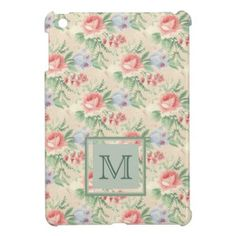 Vintage Pink Rose and Blue Flower Pattern iPad Mini Case - monogram gifts unique custom diy personalize