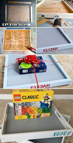 Build portable Lego tray with a plywood board four wood strips a standard Lego baseplate and other simple tools. Build portable Lego tray with a plywood board four wood strips a standard Lego baseplate and other simple tools. Diy Kids Room, Diy For Kids, Pot Mason Diy, Mason Jar Crafts, Lego Tray, Diy Lego Table, Diy Cadeau Noel, Navidad Diy, 242