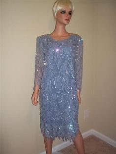 Laurence Kazar Beaded Dress!  100% Silk and Totally Awesome!  See it at Linda's Vintage Treasures on eBay!