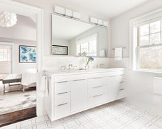 White Floating Vanity in Contemporary Master Bathroom