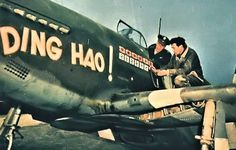 Major James Howard (in CAP) from 356. fighter squadron on his machine's P-51B Mustang Ding Hao! Sixth, lets paint swastika and this aligns the previous Japanese series victories over the base of the RAF Boxted, Essex, England, 1944