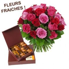 Roses and chocolates - [fran19]  Bouquet of flowers and chocolates with 25 colored roses and red roses and box of chocolates (250g) - Fresh Flowers - Chocolate French cocoa butter hand made. DELIVERY ONLY IN FRANCE.