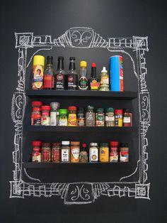 DIY spice rack on chalkboard wall