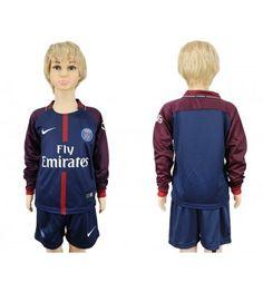 Paris Saint-Germain Blank Home Long Sleeves Kid Soccer Club Jersey Psg, Kids Soccer, Motorcycle Jacket, Saints, Youth, Paris Saint, Saint Germain, Jackets, Club