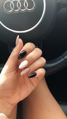 New Nails Black White Design Beauty Ideas - Ongles d'hiver Simple Acrylic Nails, Best Acrylic Nails, Simple Nails, Perfect Nails, Gorgeous Nails, Pretty Nails, Hair And Nails, My Nails, Long Nails