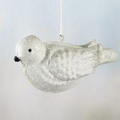 white glittered dove ornament christmas