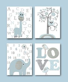Kids Art Kids Wall Art Baby Boy Nursery Print Children Art Children Wall Art Baby Room Decor set of 4 8x10 Giraffe Alphabet Elephant Numbers by artbynataera on Etsy
