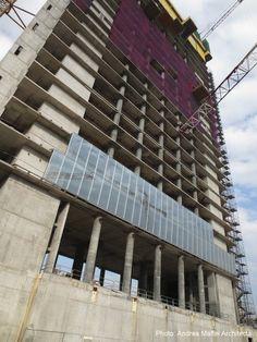 Arata Isozaki and Andrea Maffei. #Citylife Tower, #Milan, Italy, (2005/2011) - Construction site, Oct 2013 - Second Floor