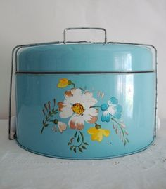 Vintage Shabby BLUE Metal CAKE CARRIER with by MadHatterPlatters