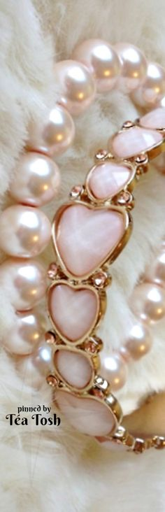 Pink Pearls. Pink and Bright Gold