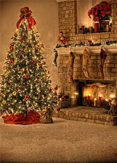 Amazon.com : 5x7ft Kate Photography Backdrops Christmas Tree Yellow Background Candle Sock Stove Backdrop for Children : Camera & Photo