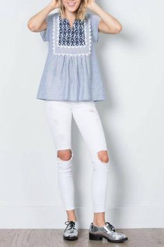 This babydoll top is such a statement piece, with its gorgeous navy blue embroidery and white accents against a classic chambray blue stripe. All you need is to pair it with your favorite jeans for an effortlessly chic look!   Baby I'm Good Top by THML Clothing. Clothing - Tops - Sleeveless North Carolina
