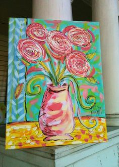 Pretty Posies Original Canvas Painting Made To Order by YelliKelli, $75.00