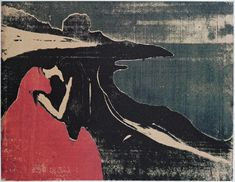 Edvard Munch (Norwegian, 1863-1944), Melancholy II, 1898. Woodcut with gouges and freesaw, 335 x 425 mm. Multicoloured impressions printed from one woodblock sawn into pieces.