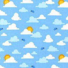 Tissu out n about sky nuage x10cm