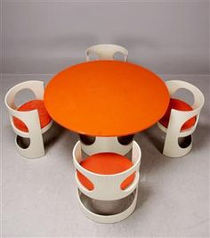 Arne Jacobsen dining suite designed 1968. White & orange lacquer. Produced by ASKO Finland