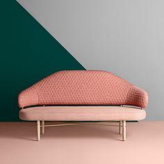 """TRIANGLE Blush on sofa Simone by Sputnik studio for Missana. Scenography by Masquespacio. #missana…"""