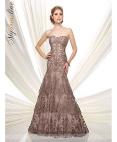 Ivonne D 216D53 Strapless hand-beaded metallic lace and tulle fit and flare dress with sweetheart neckline, dropped waist, scalloped multi-tiered skirt with sweep train. Matching shawl and removable straps included.