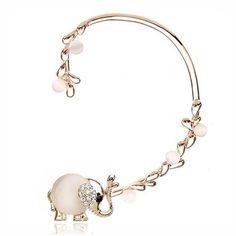 Elephant Opal Rhinestone Ear Clip Earrings