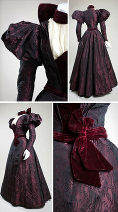 "cimetiere-chanson: "" Afternoon dress ca. 1897. Silk brocade, velvet, chiffon. Made and worn by Ora Baily McCuthen, a concert pianist in San Diego. She was the daughter of James O. Baily, one of the..."