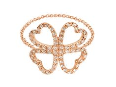 Djula - Clover gold and diamonds chain ring mounted on rose gold, ~ USD$ 1'140
